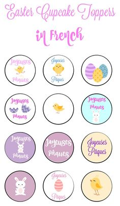 Easter Cupcake Toppers in French