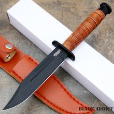"""9"""" Tactical Combat Survival Fixed Blade Hunting Knife w/ Sheath Bowie Camping -o - MEGAKNIFE"""