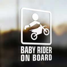 """Baby Motocross rider on board Sticker  Baby on board sticker. This baby gamer on board is a premium quality car decals. Size : 5.5"""" x 8"""" Price : $5.99 us. From www.baby-onboard.com"""