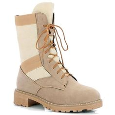 Beige 34 New Winter and Mid Autumn Leisure Laces Low Heel Martin Boots ($39) ❤ liked on Polyvore featuring shoes, boots, low-heel boots, beige boots, beige shoes, low heel shoes and short heel boots