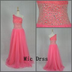 High Quality One shoulder Sleeveless Pink Tulle Crystal Beading/Long prom/Evening/Party/Homecoming/cocktail /Bridesmaid/Formal Dress. $115.00, via Etsy.