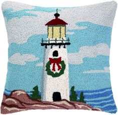 The Holiday Aisle Light Tower Wreath Hook Wool Throw Pillow Christmas 2014, Holiday, Nautical Christmas, Decorative Throw Pillows, Nautical Pillows, Christmas Pillow, Floor Pillows, Coastal, Wreaths