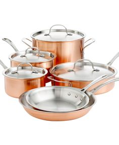 Calphalon Tri Ply Copper 10 Piece Cookware Set - Cookware - Kitchen - Macy's Bridal and Wedding Registry Kitchen Items, Kitchen Gadgets, Kitchen Appliances, Kitchen Products, Kitchen Things, Kitchen Tools, Cast Iron Cookware, Cookware Set, Calphalon Cookware