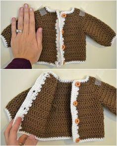 Crocheted Newborn Cardigan and Softening Yarn ❥Teresa Restegui http://www.pinterest.com/teretegui/❥