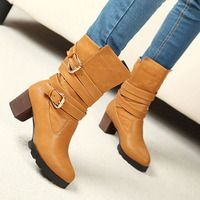 Unisex Black Brown Buckles Mid Calf Motorcycle Block Heeled Combat Boots  - Thumbnail 1