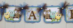 Owl family baby shower banner, its a boy banner, blue, brown, teal and yellow