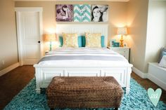 Aqua, Mustard, Teal & Grey Master Bedroom-- Design Loves Detail