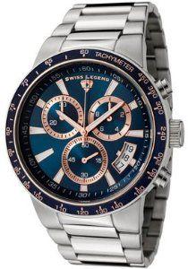Men's Endurance Chronograph Dark Blue Dial Stainless Steel Swiss Legend. $125.01