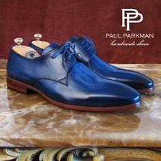 Paul Parkman Cobalt Blue Handpainted Plain Toe Derby Shoes For Men #luxury #handcrafted #mensfashion #mensluxuryshoes Website : www.paulparkman.com