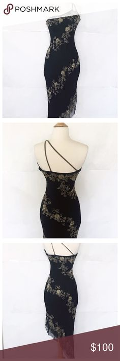 Cache Formal Dress Perfect condition. Hand beating. Silk sheer  overlay. Stunning. Cache Dresses One Shoulder