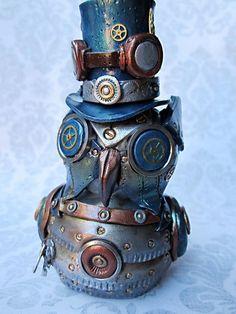 Steampunk owl sculpture