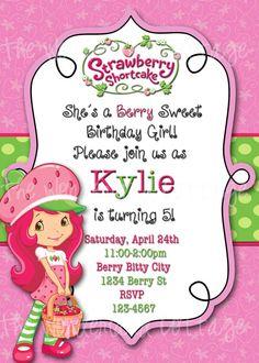 Strawberry+Shortcake+Invitation+by+TheWonderlandCottage+on+Etsy,+$8.00