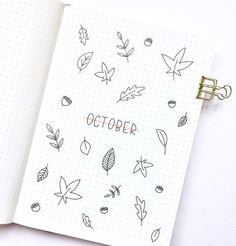 Get Ideas From These Clean Minimal October Bullet Journal Pages Bullet Journal August, Bullet Journal Title Page, Bullet Journal Cover Ideas, Bullet Journal Inspiration, Bullet Journal Leaves, Cover Pages, Creations, Autumn Fall, Autumn Leaves
