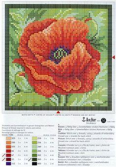 Poppy Flower and Key Cross Stitch Pillow, Cross Stitch Tree, Cross Stitch Flowers, Cross Stitch Charts, Cross Stitch Designs, Cross Stitch Patterns, Cross Stitching, Cross Stitch Embroidery, Embroidery Patterns