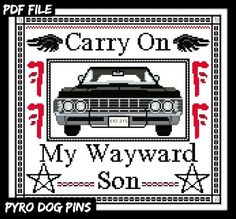 Carry On My Wayward Son Cross Stitch PDF Cross by PyroDogPins