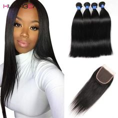 (8a Grade 4 Piece Bundle) Peruvian Straight  Virgin Human Hair