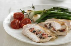 Chicken breast fillets filled with PHILADELPHIA, tomato and olives Recipe   PHILADELPHIA Cream Cheese