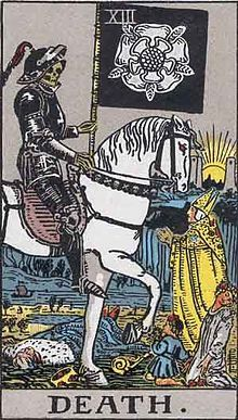 Death (personification) - Wikipedia, the free encyclopedia - This is a card from the Major Arcana of the Rider-Waite Tarot deck. It shows the themes of the Danse Macabre.