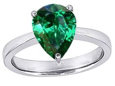 Star K 11x8mm Pear Shape Solitaire Ring Simulated Emerald Size 8 >>> You can get more details by clicking on the image.