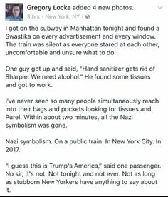greaterblogston: winchester101: icyaphrodite: quasi-normalcy: Spread this around; remind the world that for every Nazi theres an entire train full of sensible people capable of basic moral behaviour. I love my city so much. The MTAs follow up Get. THE FUCK. Off. My. RED LINE!