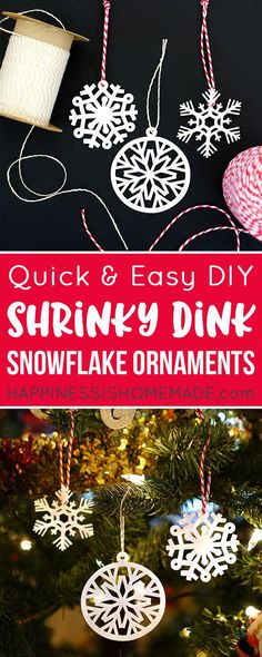 These cute Shrinky Dink Snowflake Ornaments are SUPER cute and easy to make with your Cricut Explore cutting machine and 15 minutes! Snowflake Ornaments, Christmas Tree Ornaments, Snowflakes, Christmas Crafts, Xmas, Christmas Ideas, Shrink Art, Shrink Paper, Shrink Film