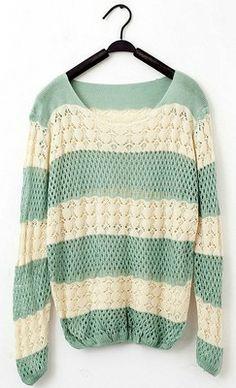 Dulce Estilo holgado de color Empalme Calado Fish Net tejer suéteres para las mujeres