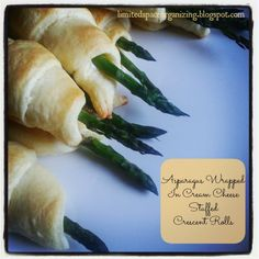 Asparagus Wrapped in a Cream Cheese Stuffed Crescent Roll: These are so good and really easy to make! Would be a great addition to Thanksgiving dinner, BBQing, or impressing your guests!