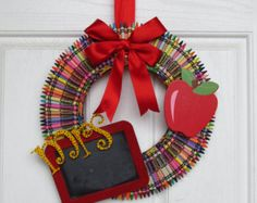 Crayon Wreath Teacher Wreath Teacher Wreath by CraftyCrystalShop