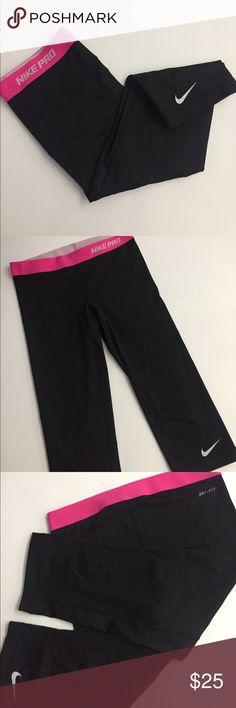 Nike Capris💗🖤 Nike Pro dri-fit capris. Black with pink waist. Dri-fit spandex material. Worn one time! Size medium. Nike Pants Capris