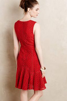 Flounced Lace Dress - anthropologie.com