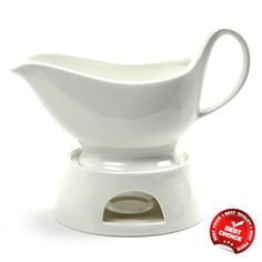 Gravy Sauce Boat with Stand Candle Porcelain Pitcher Dressing Dip Servers Norpro #Norpro