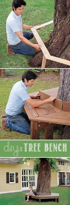 17 Easy and Cheap Curb Appeal Ideas Anyone Can Do DIY tree bench.  Add that perfect touch to your front yard.  http://www.wersdecor.website/2017/04/29/17-easy-and-cheap-curb-appeal-ideas-anyone-can-do/