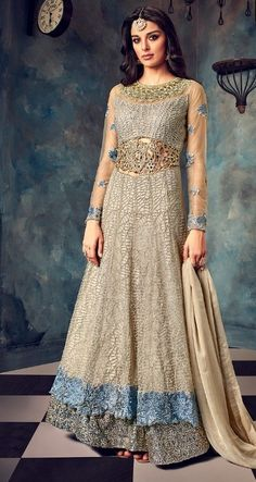 Buy Hotlady Malisha Heavy Designer Bridal Wear Net with Heavy Embroidery Work Party Wear Wedding Salwar Kameez Collection at Wholesale Rate direct from Surat. Eid Dresses, Indian Dresses, Indian Outfits, Anarkali Gown, Anarkali Suits, Lehenga, Angrakha Style, Eid Outfits, Abaya Fashion
