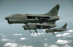 A7 Corsair. Looks like air brakes out and tailhooks down.  Bassmen : Photo