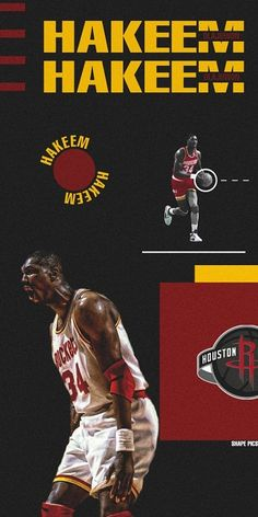 Hakeem Olajuwon, Sports Graphics, Houston Rockets, Nba Players, All About Time, My Love, Movie Posters, Basketball, Game