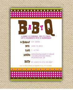 Baby BBQ Shower Invitation  BaByQ by stacey0803 on Etsy, $20.00