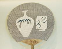 Hand Painted Paddle Fan Bamboo And Paper Vintage