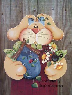 Bloomin' miss bunny hanger Wooden Girl  Easter por stephskeepsakes, $32.95