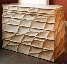 This is just so tactile! Amazing! 'Flow' Chest, Ripple ash, holly wood, ash & Lebanon cedar! by furniture designer and maker John Makepeace