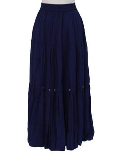 -Southwest Canyon- Womens navy blue drapey rayon broadcloth with tiny silvertone metal conchos sewn above lowest tier of skirt, elastic waist prairie style near ankle length hippie skirt, with 3 tiers, inches from under waistband to hem edge Hippie Skirts, Navy Women, Ankle Length, Lazy, Apron, Vintage Outfits, Photoshoot, Sewing, Disney