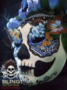 """""""Catherine""""  Swarovski and butterfly Day of the Dead mask.  (Dia de Los Muertos)"""