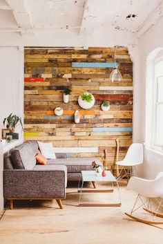 ACCENT WALL covered completely in beautiful reclaimed wood