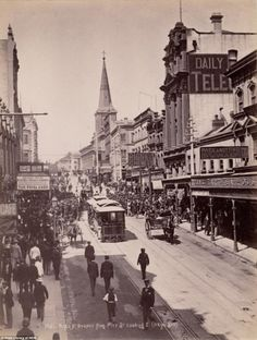 Hustle and bustle: This is Sydney in 1889 on King Street with Quong Tart's Loong Shan Tea House on the right