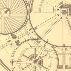 1847  Flour Mill and Gears Technical Drawing  by CarambasVintage, $26.00