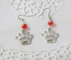 Rhinestone silver plated  red crystal crown by jewlerystar on Etsy
