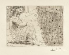 Pablo Picasso  1881 - 1973  MINOTAURE ENDORMI CONTEMPLÉ PAR UNE FEMME (B. 193; BA. 352)  Etching, 1933, from la suite Vollard, signed in pencil, from the total edition of 310, on Montval laid paper with the Picasso watermark, published by Vollard, Paris, framed  plate: 193 by 268mm 7 5/8 by 10 1/2 in  sheet: 334 by 447mm 13 3/8 by 17 5/8 in  picasso, pablo minotaure endormi ||| prints ||| sotheby's l17160lot989nsen