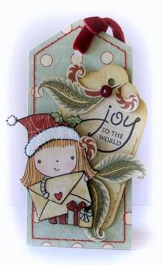 Peet Roeven used the Penny Black Christmas Mimi stamp to create a one-of-a-kind gift tag.