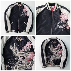 6cb090d1ee0e0 Rare Japanese Japan Dragon RYU Sakura Cherry Blossom Embroidery Souvenir  Sukajan Jacket - Japan Lover Me