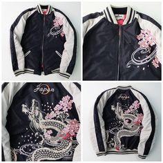 Rare Japanese Japan Dragon RYU Sakura Cherry Blossom Embroidery Souvenir Sukajan Jacket - Japan Lover Me Store