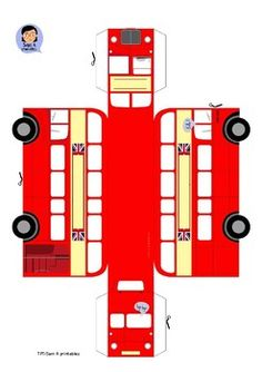 *UPDATED* British Red Bus paper craft by Bear proof printables Bus Crafts, Sand Crafts, 3d Paper Crafts, Seashell Crafts, Paper Toys, Preschool Crafts, Crafts For Kids, Arts And Crafts, Party Crafts